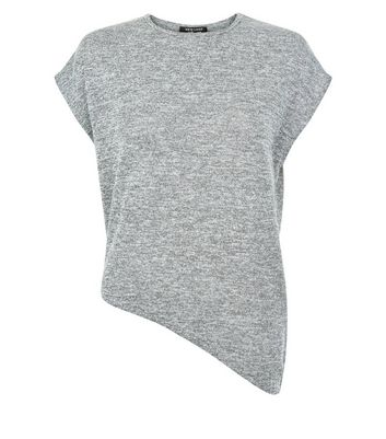 Teens Grey Marl Asymmetric Hem T-Shirt New Look