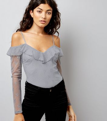 Grey Lace Cold Shoulder Bodysuit New Look