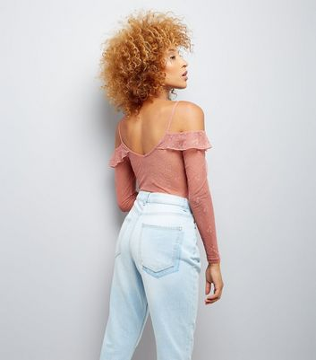 Pink Mesh Lace Cold Shoulder Bodysuit New Look