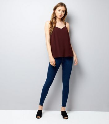 Tall Burgundy Lace Trim Back Cami Top New Look