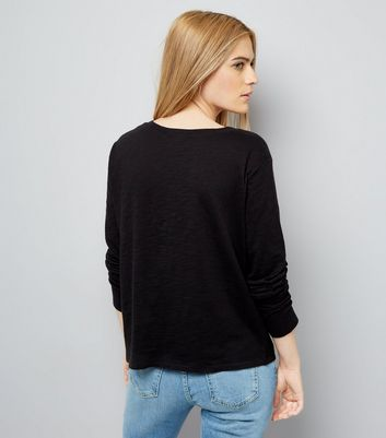 Black Organic Cotton Long Sleeve Pocket Front T-Shirt New Look