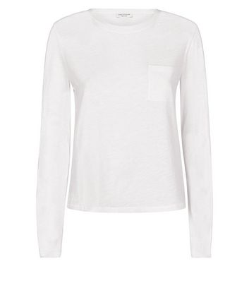White Organic Cotton Long Sleeve Pocket Front T-Shirt New Look