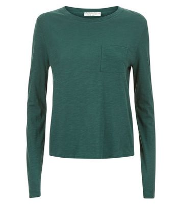 Green Organic Cotton Front Long Sleeve Pocket Front T-Shirt New Look