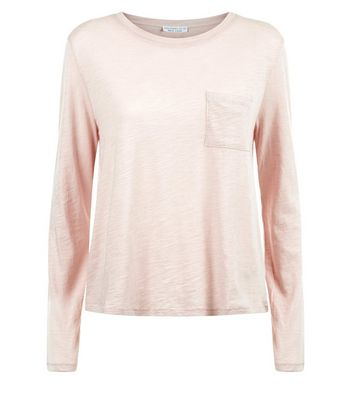 Pink Organic Cotton Long Sleeve Pocket Front T-Shirt New Look
