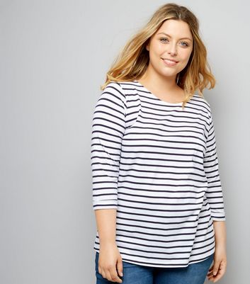 Curves Blue Stripe 1/3 Sleeve T-Shirt New Look