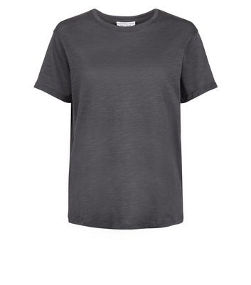 Dark Grey Organic Cotton Short Sleeve T-Shirt New Look