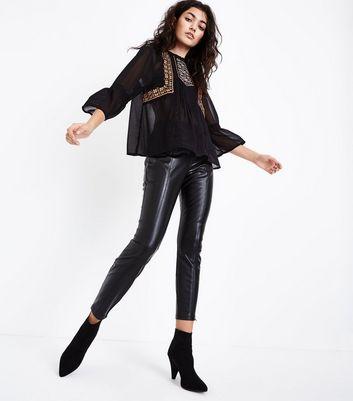 Black Seam Front Leather-Look Leggings New Look