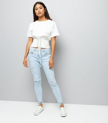 Petite White Shirred Corset T-Shirt New Look
