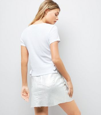 White Lace Up Side Ribbed T-Shirt New Look