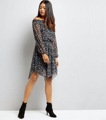 Petite Black Floral Hanky Hem Bardot Neck Dress New Look