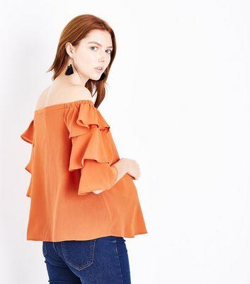Maternity Orange Tiered Sleeve Bardot Neck Top New Look