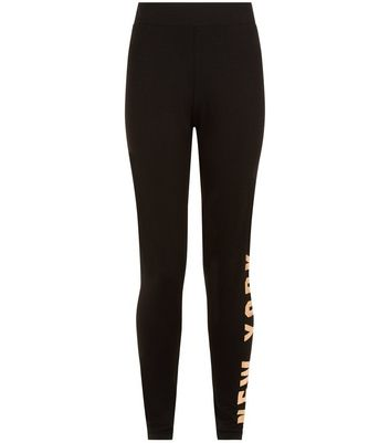 Teens Black New York Metallic Print Leggings New Look