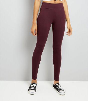 Burgundy High Waisted Leggings New Look
