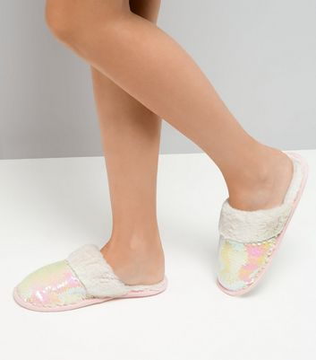White Iridescent Sequin Mule Slippers New Look