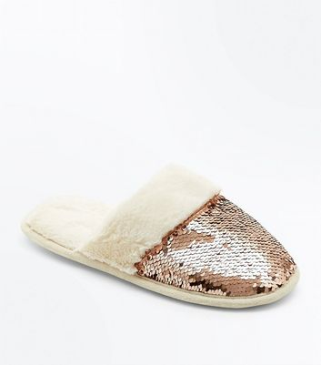 Rose Gold Sequin Faux Fur Mule Slippers New Look