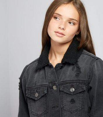 Teens Black Borg Denim Jacket New Look