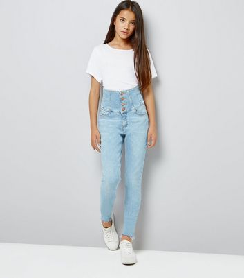 Teens Blue High Waist Corset Jeans New Look