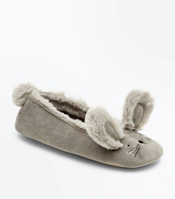 Grey Bunny Ballet Slippers New Look