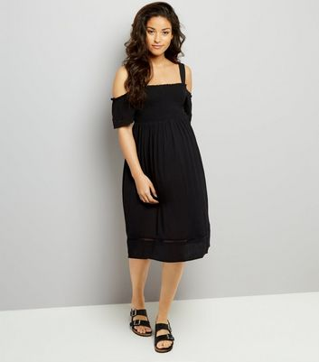 Maternity Black Shirred Cold Shoulder Dress New Look