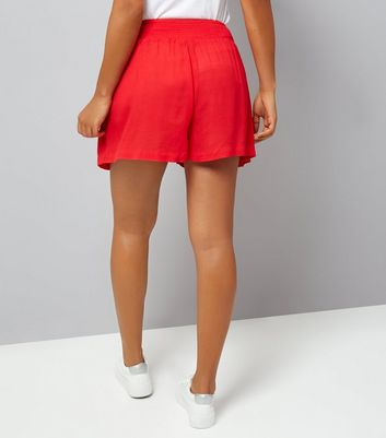 Maternity Red Shirred Waist Shorts New Look