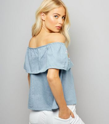Pale Blue Floral Embroidered Bardot Neck Top New Look