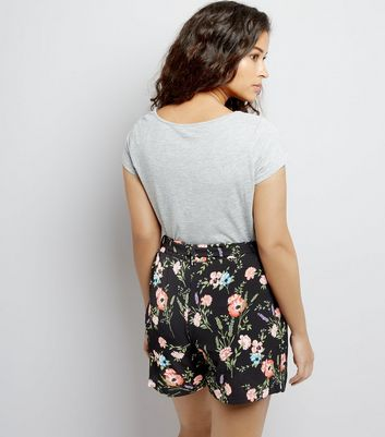 Maternity Black Floral Print Shorts New Look
