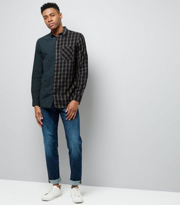 Dark Green Half Check Print Shirt New Look