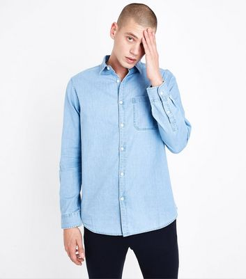 Pale Blue Long Sleeve Denim Shirt New Look