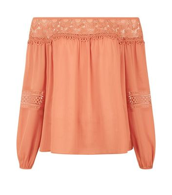 Tall Coral Crochet Lace Trim Bardot Neck Top New Look