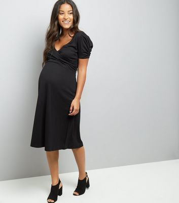 Maternity Black Puff Sleeve Wrap Front Dress New Look