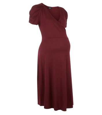 Maternity Burgundy Puff Sleeve Wrap Front Dress New Look