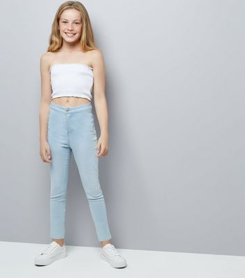 Teens White Shirred Bandeau Crop Top New Look