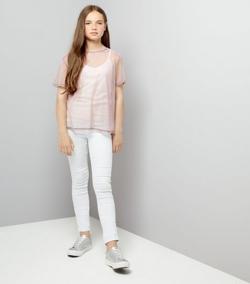 Teens Pink Mesh 2 in 1 Mesh Top New Look