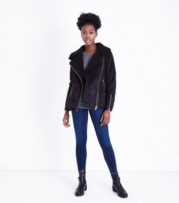 Black Faux Shearling Aviator Jacket New Look