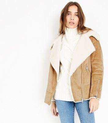 Tan Faux Shearling Aviator Jacket New Look
