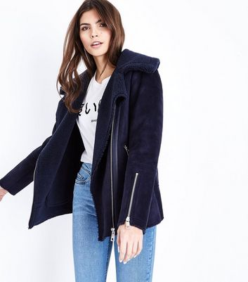 Navy Faux Shearling Aviator Jacket