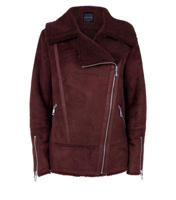 Burgundy Faux Shearling Biker Jacket New Look