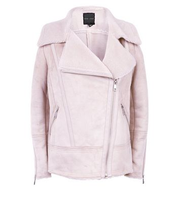 Pink Faux Shearling Aviator Jacket New Look
