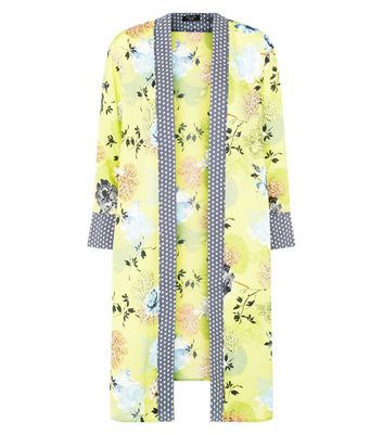 Petite Yellow Floral Print Satin Longline Kimono New Look