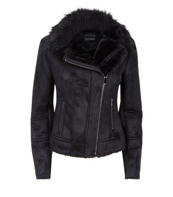 Black Suedette Faux Fur Collar Aviator Jacket New Look