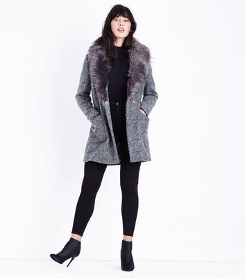 Black Speckled Faux Fur Collar Coat New Look