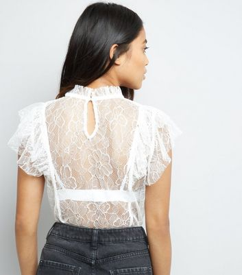 Petite Cream Sheer Lace Frill Trim Top New Look