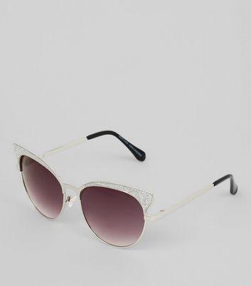 Silver Glitter Cat Eye Sunglasses New Look