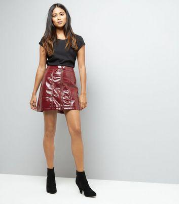 petite-red-leather-look-mini-skirt