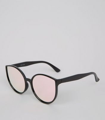 Black Mirror Lens Cat Eye Sunglasses New Look