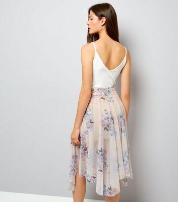 Pink Floral Print Hanky Hem Mesh Skirt New Look