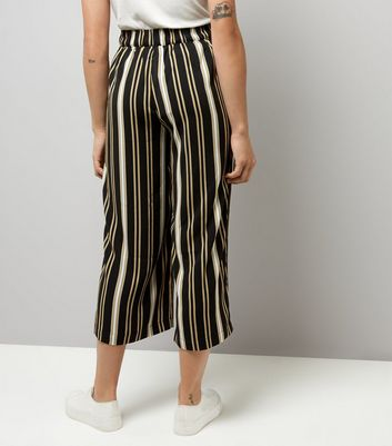 Yellow Stripe Tie Waist Cropped Trousers New Look