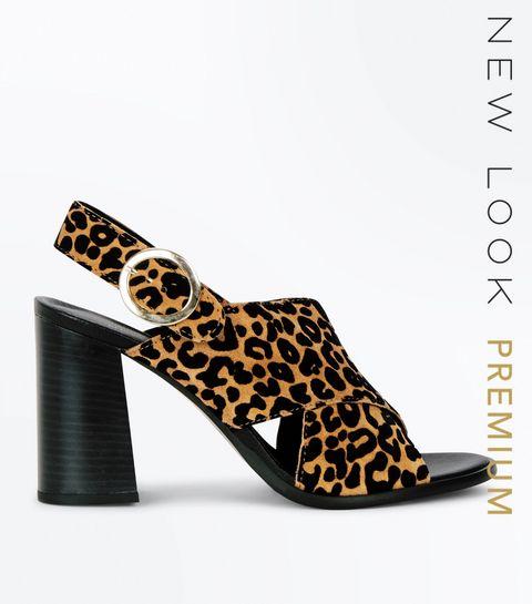 5d504729e2e1 ... Tan Premium Suede Leopard Print Heels ...