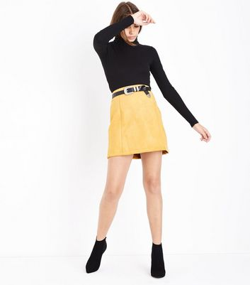 Yellow Suedette A-Line Mini Skirt New Look