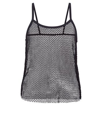Teens Black Fishnet Cami New Look
